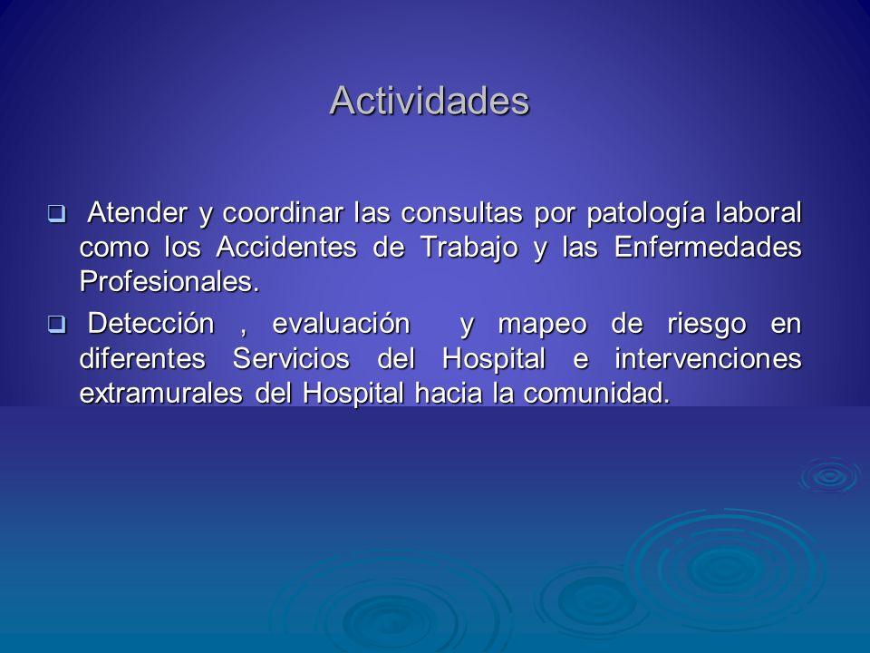 Actividades Atender y coordinar las consultas por patología laboral como los Accidentes de Trabajo y las Enfermedades Profesionales.