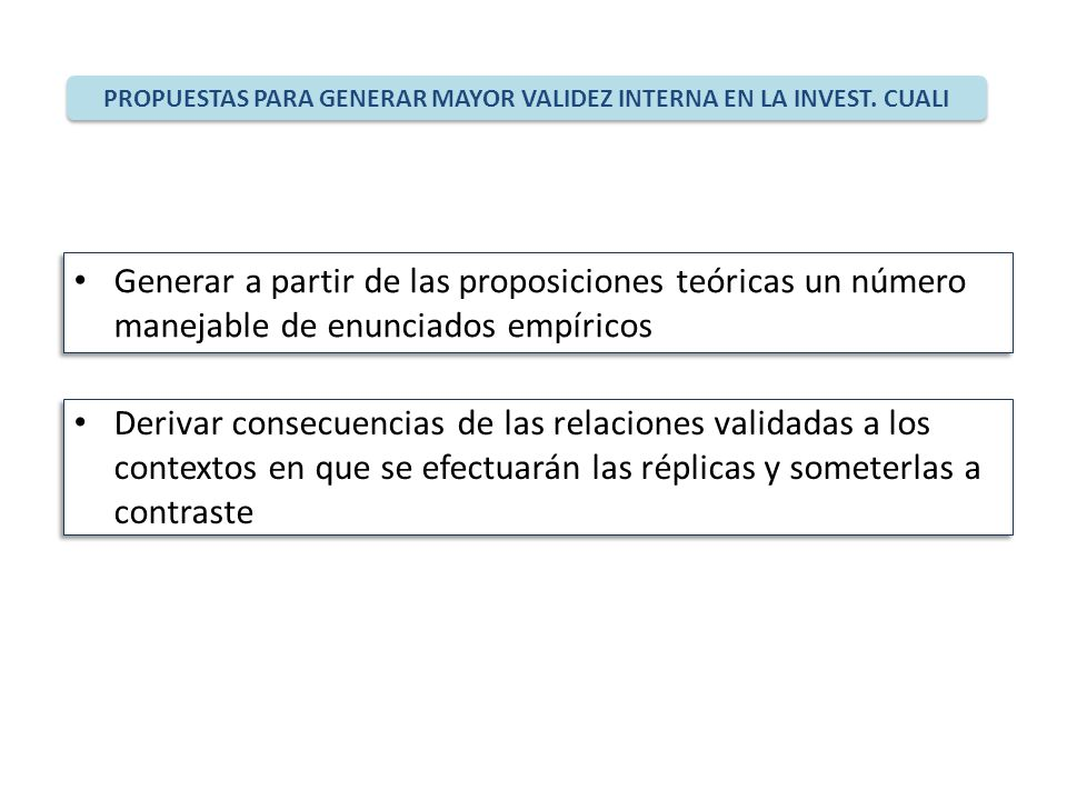 PROPUESTAS PARA GENERAR MAYOR VALIDEZ INTERNA EN LA INVEST. CUALI