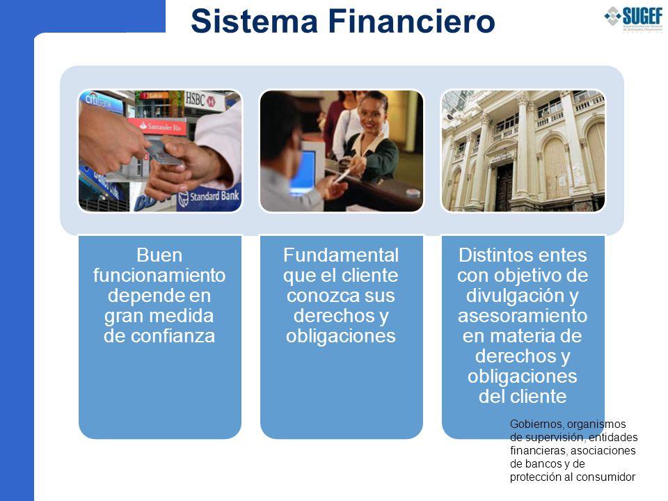 Sistema Financiero Buen funcionamiento depende en gran medida de confianza. Fundamental que el cliente conozca sus derechos y obligaciones.