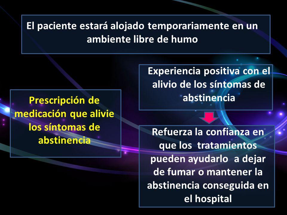 Experiencia positiva con el alivio de los síntomas de abstinencia