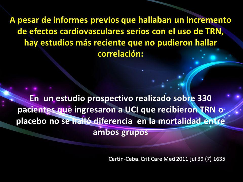 A pesar de informes previos que hallaban un incremento de efectos cardiovasculares serios con el uso de TRN, hay estudios más reciente que no pudieron hallar correlación: