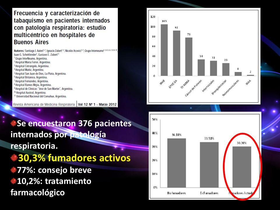 Se encuestaron 376 pacientes internados por patología respiratoria.