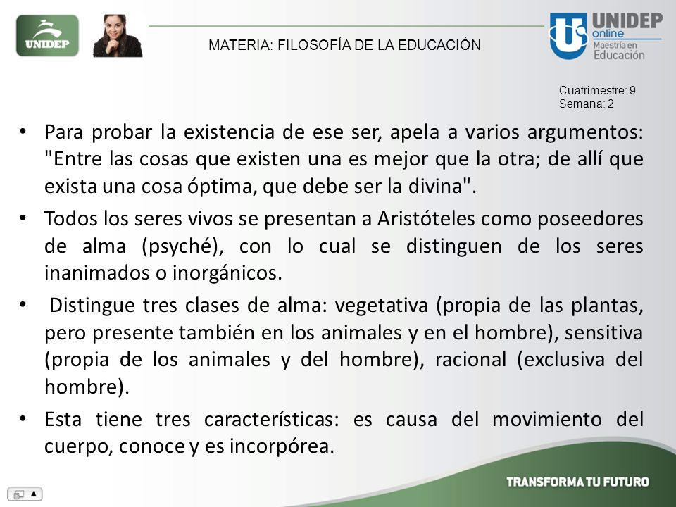MATERIA: FILOSOFÍA DE LA EDUCACIÓN