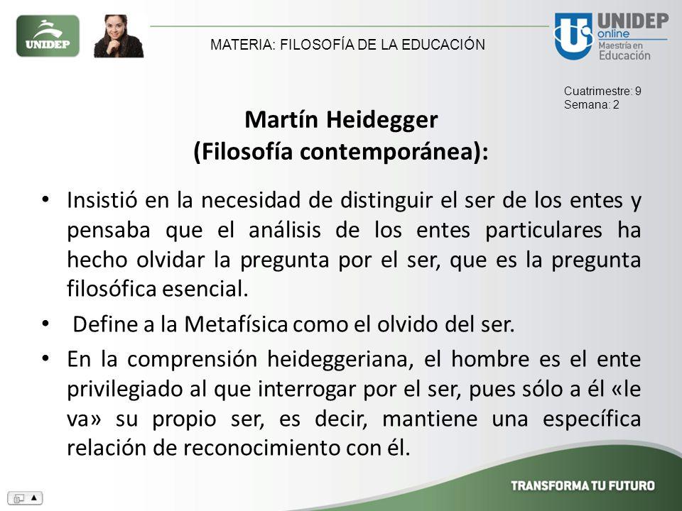 Martín Heidegger (Filosofía contemporánea):