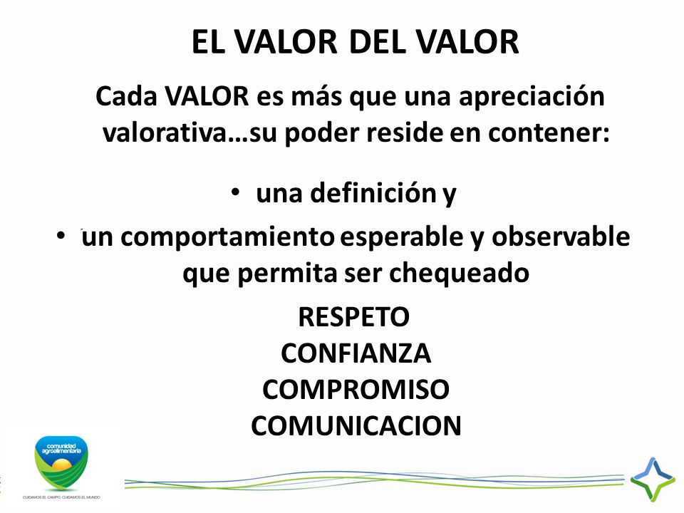 EL VALOR DEL VALOR Cada VALOR es más que una apreciación valorativa…su poder reside en contener: una definición y.