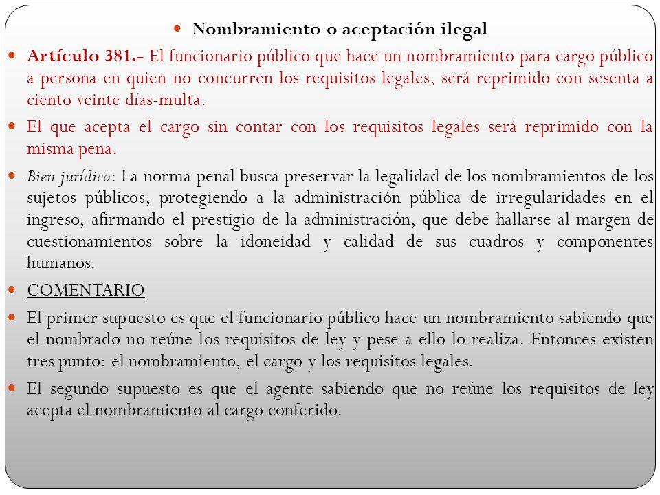 Nombramiento o aceptación ilegal