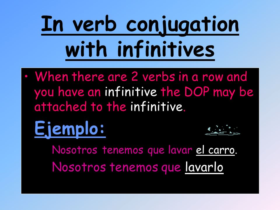In verb conjugation with infinitives