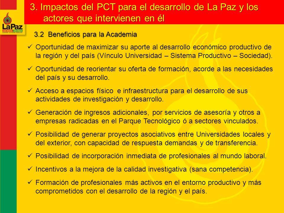 3. Impactos del PCT para el desarrollo de La Paz y los actores que intervienen en él
