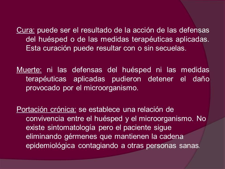 Cura: puede ser el resultado de la acción de las defensas del huésped o de las medidas terapéuticas aplicadas.