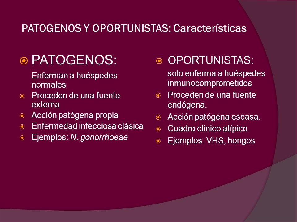PATOGENOS Y OPORTUNISTAS: Características