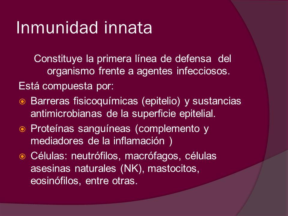 Inmunidad innata Constituye la primera línea de defensa del organismo frente a agentes infecciosos.