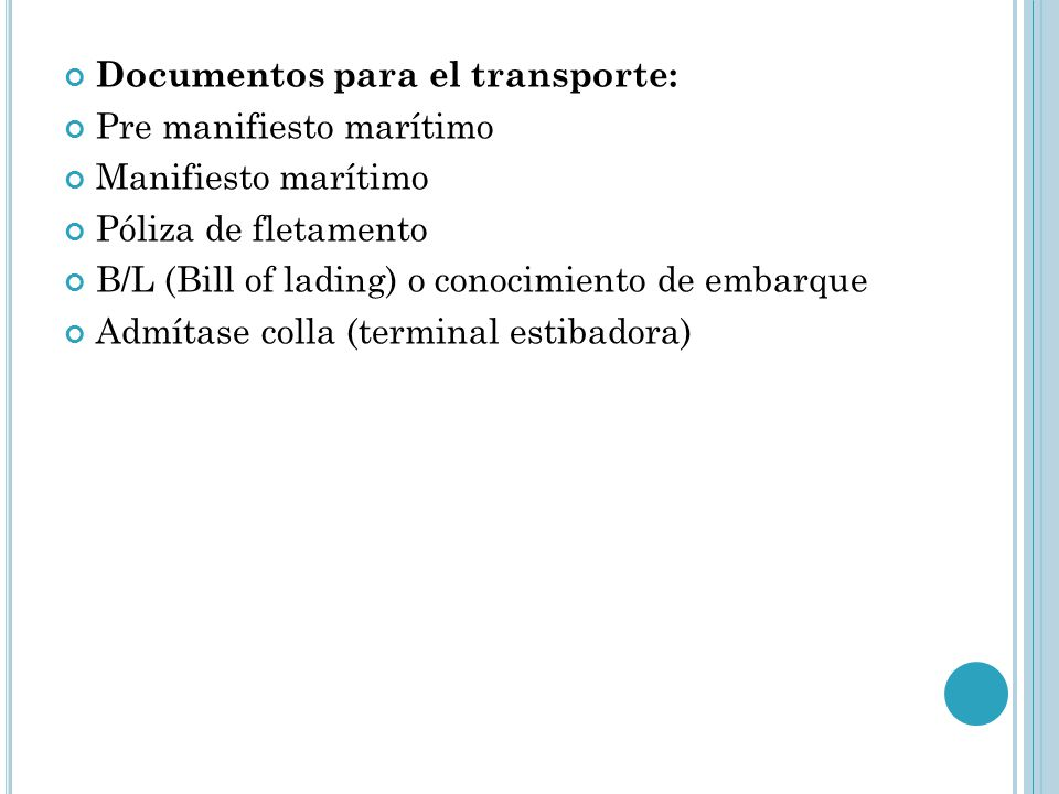 Documentos para el transporte: