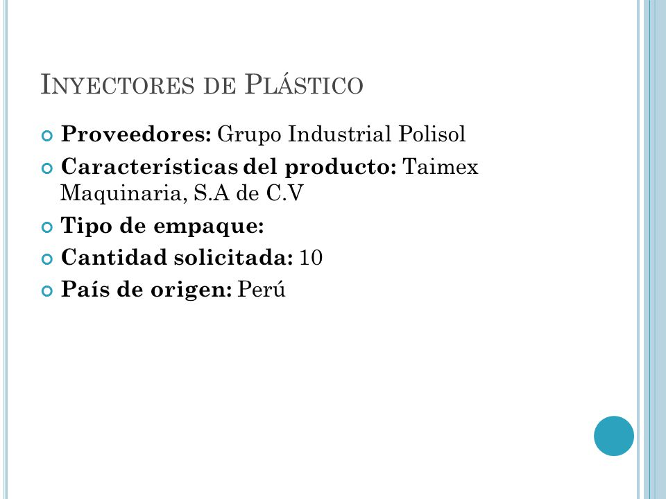 Inyectores de Plástico