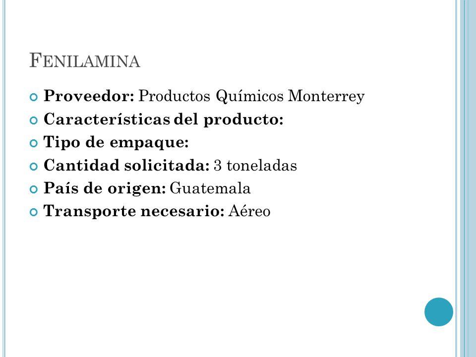 Fenilamina Proveedor: Productos Químicos Monterrey