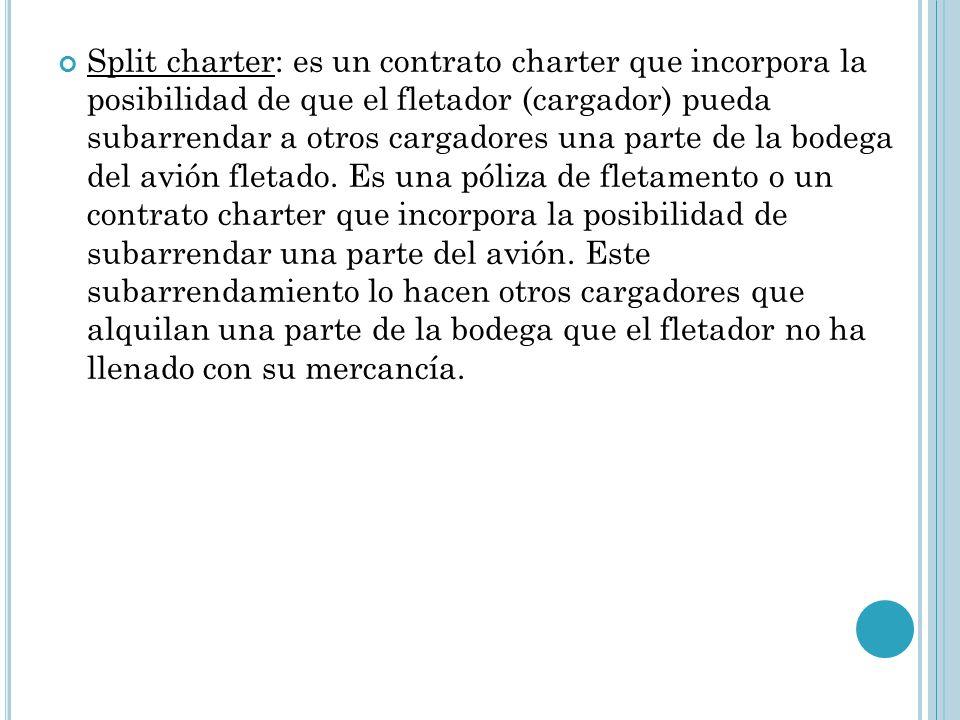 Split charter: es un contrato charter que incorpora la posibilidad de que el fletador (cargador) pueda subarrendar a otros cargadores una parte de la bodega del avión fletado.