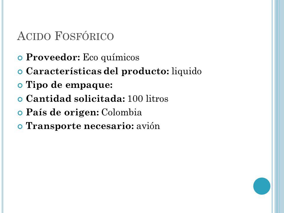 Acido Fosfórico Proveedor: Eco químicos
