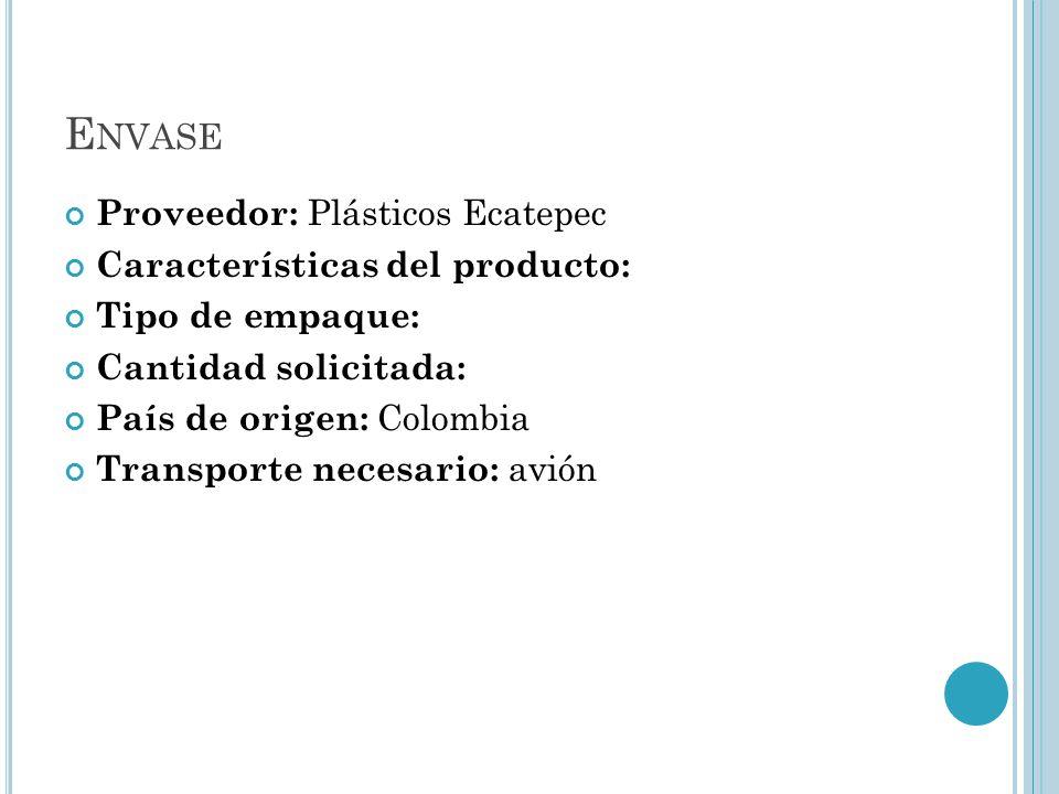 Envase Proveedor: Plásticos Ecatepec Características del producto:
