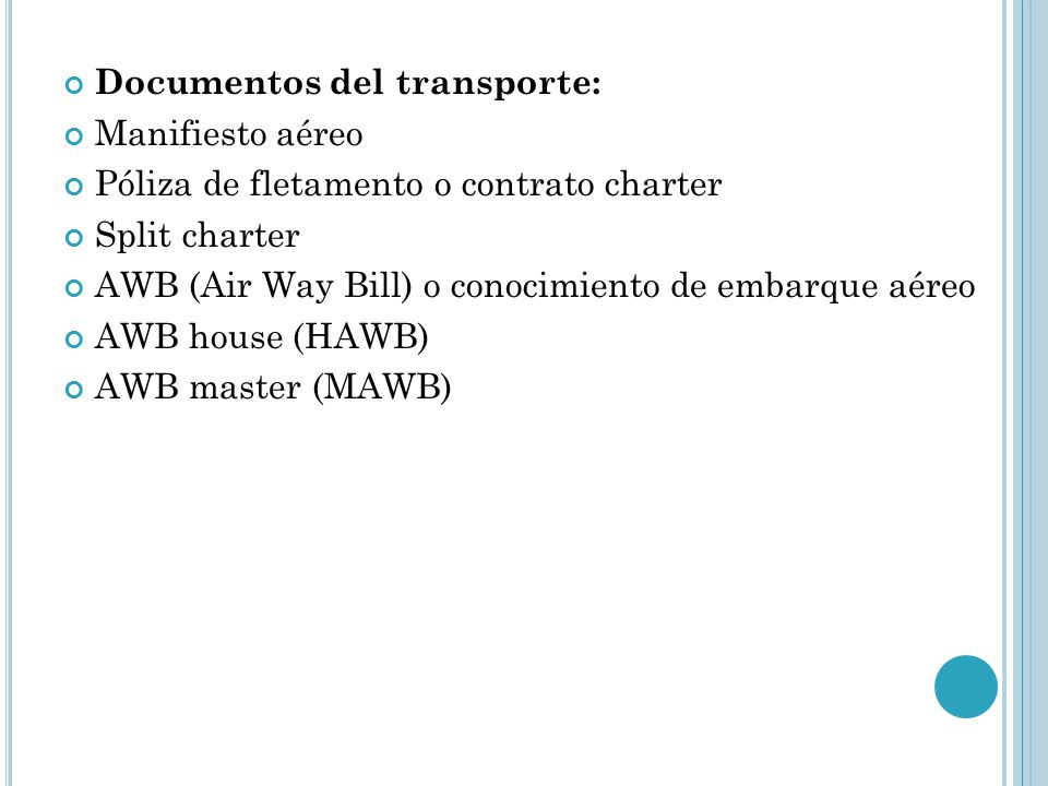 Documentos del transporte:
