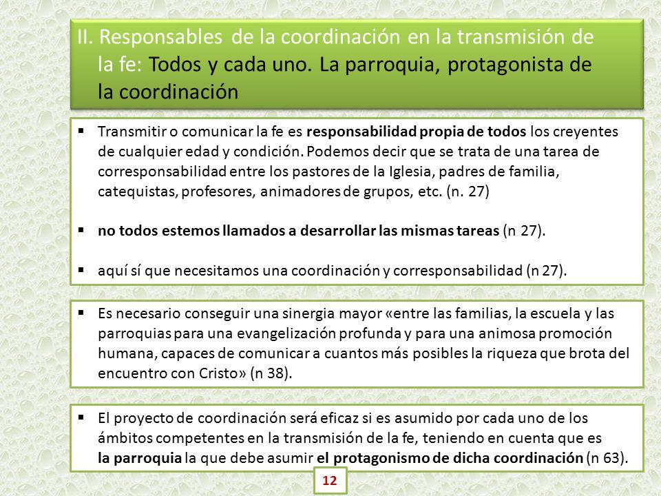 II. Responsables de la coordinación en la transmisión de la fe: Todos y cada uno. La parroquia, protagonista de la coordinación