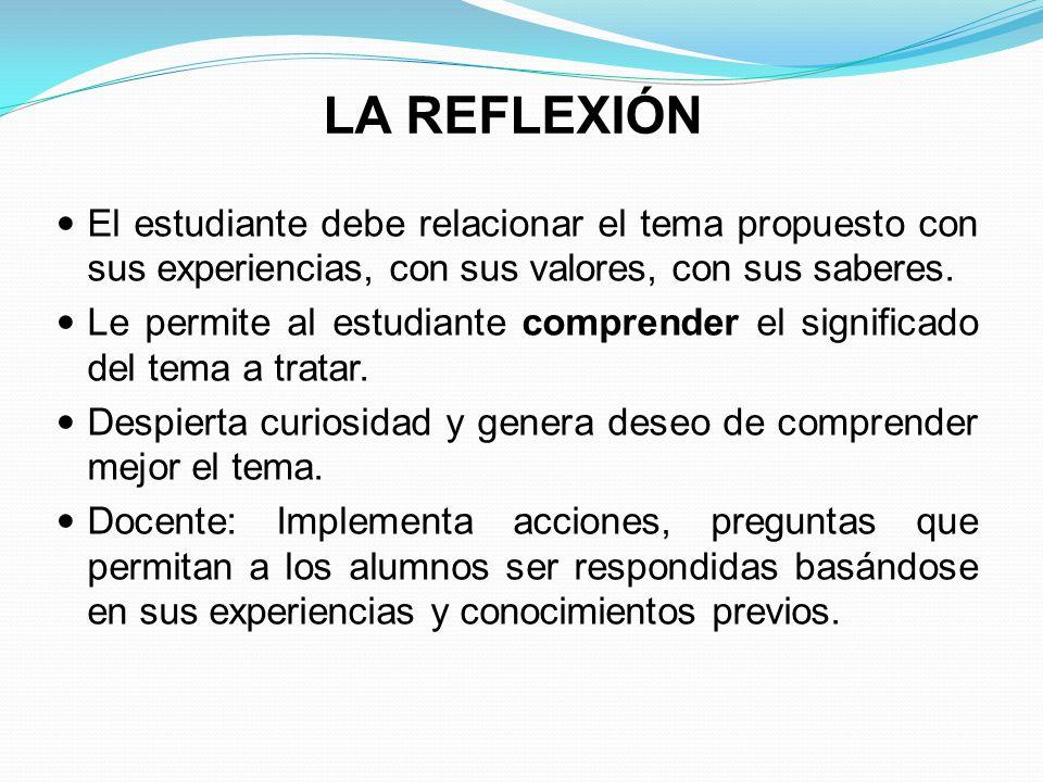 LA REFLEXIÓN El estudiante debe relacionar el tema propuesto con sus experiencias, con sus valores, con sus saberes.