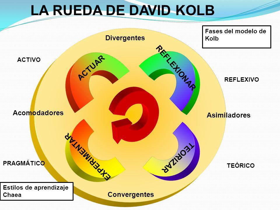LA RUEDA DE DAVID KOLB REFLEXIONAR ACTUAR EXPERIMENTAR TEORIZAR