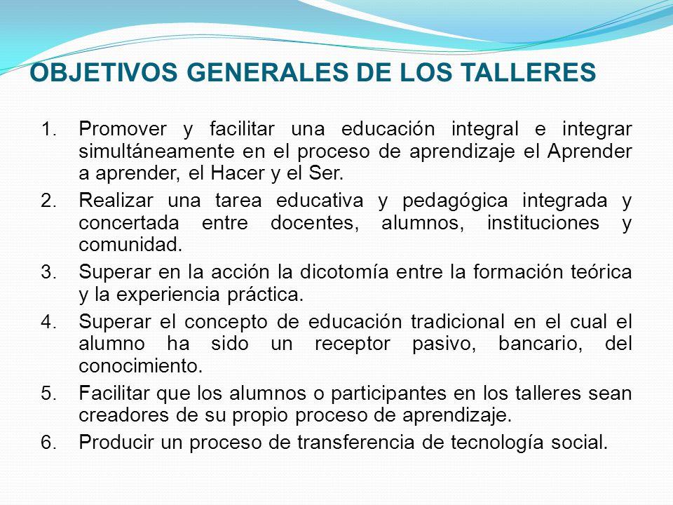 OBJETIVOS GENERALES DE LOS TALLERES