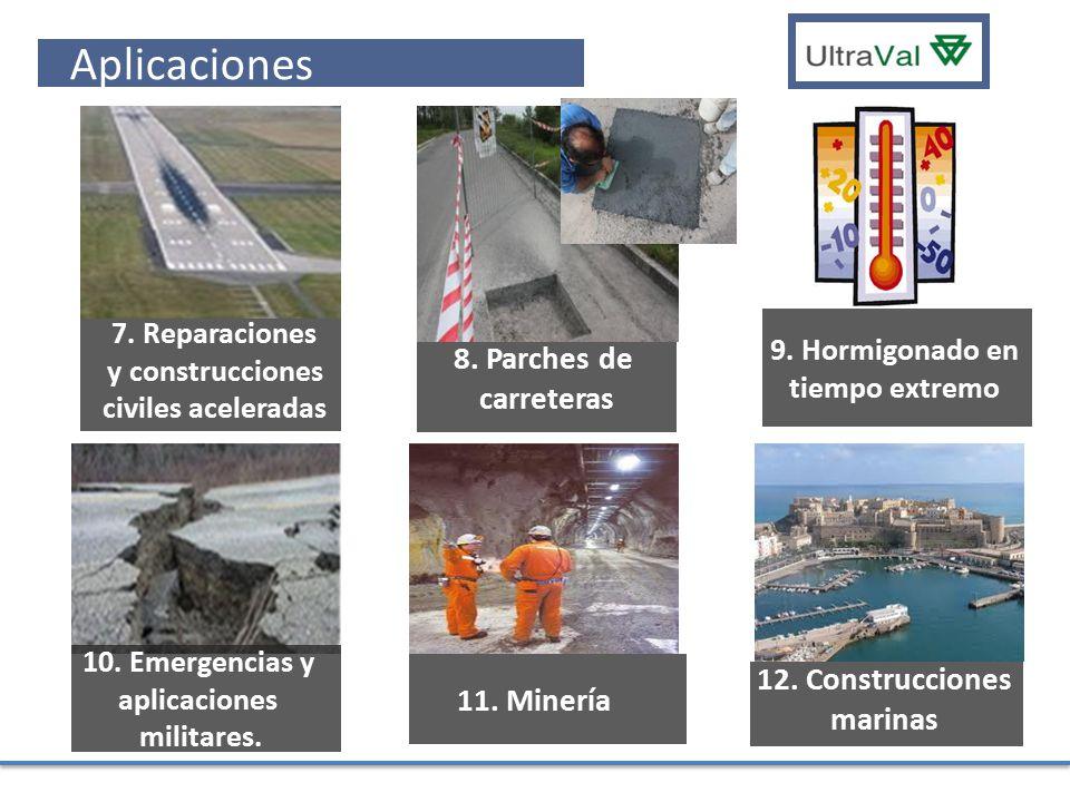 Aplicaciones 8. Parches de carreteras 12. Construcciones marinas