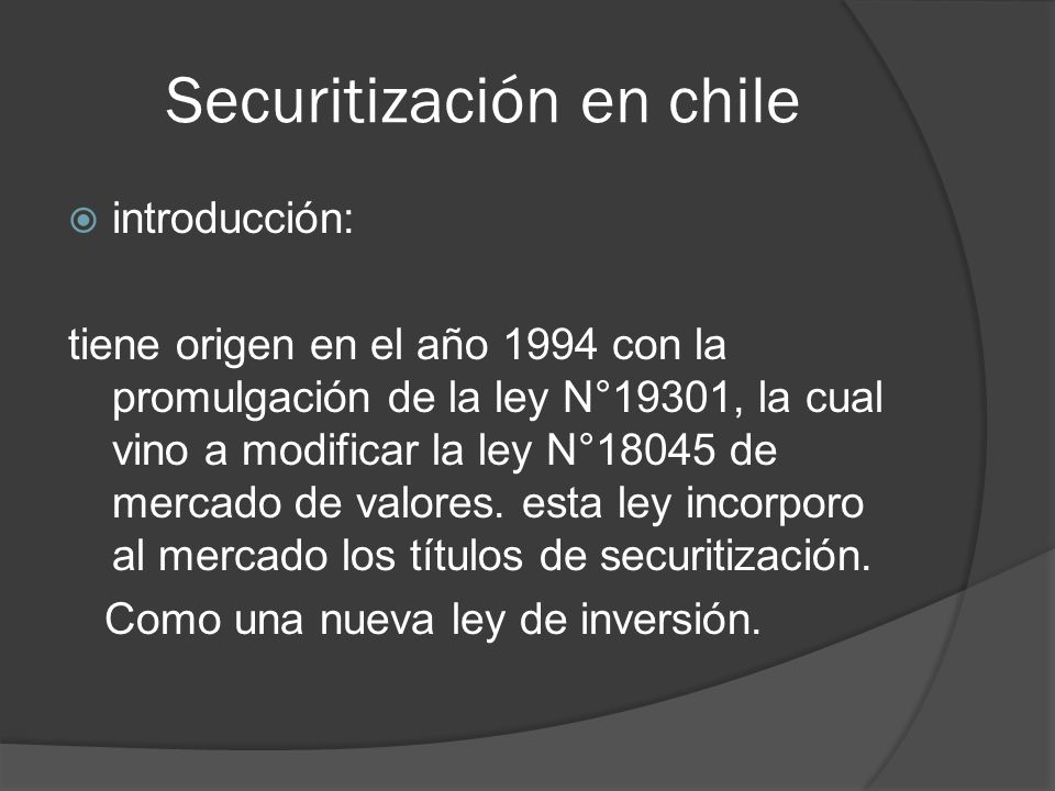 Securitización en chile