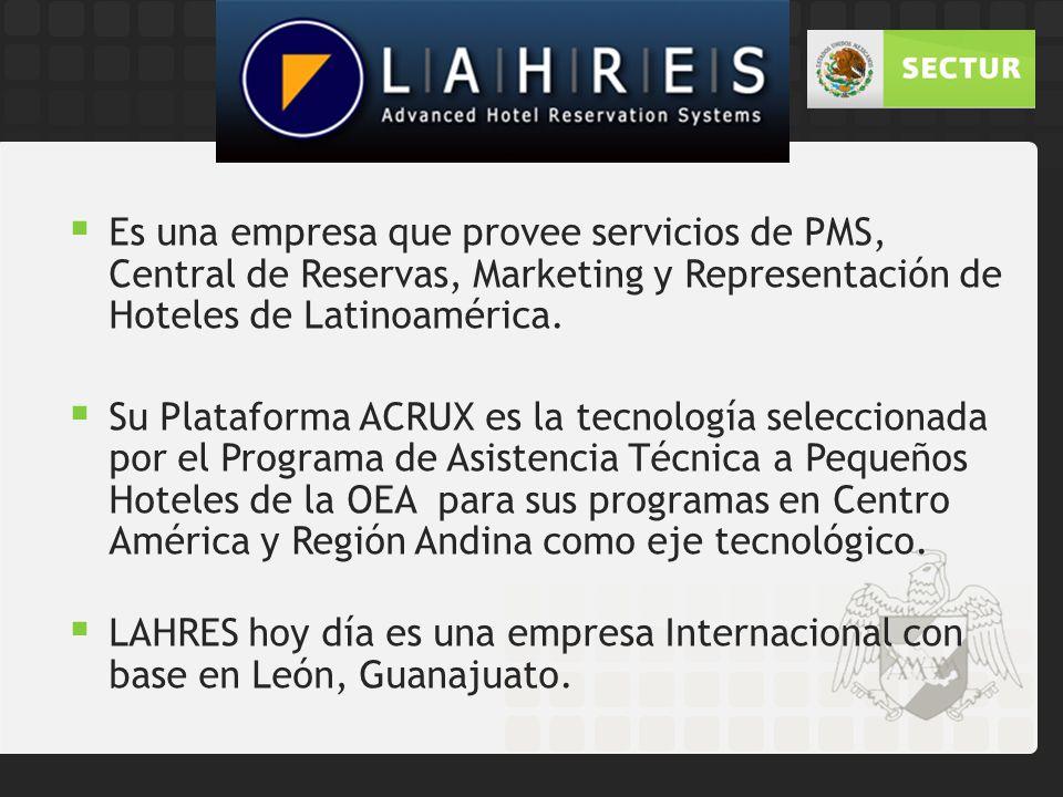Es una empresa que provee servicios de PMS, Central de Reservas, Marketing y Representación de Hoteles de Latinoamérica.
