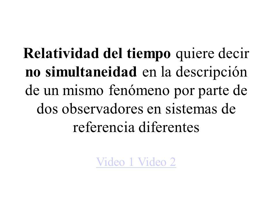 Relatividad del tiempo quiere decir no simultaneidad en la descripción de un mismo fenómeno por parte de dos observadores en sistemas de referencia diferentes