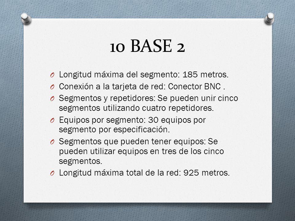 10 BASE 2 Longitud máxima del segmento: 185 metros.