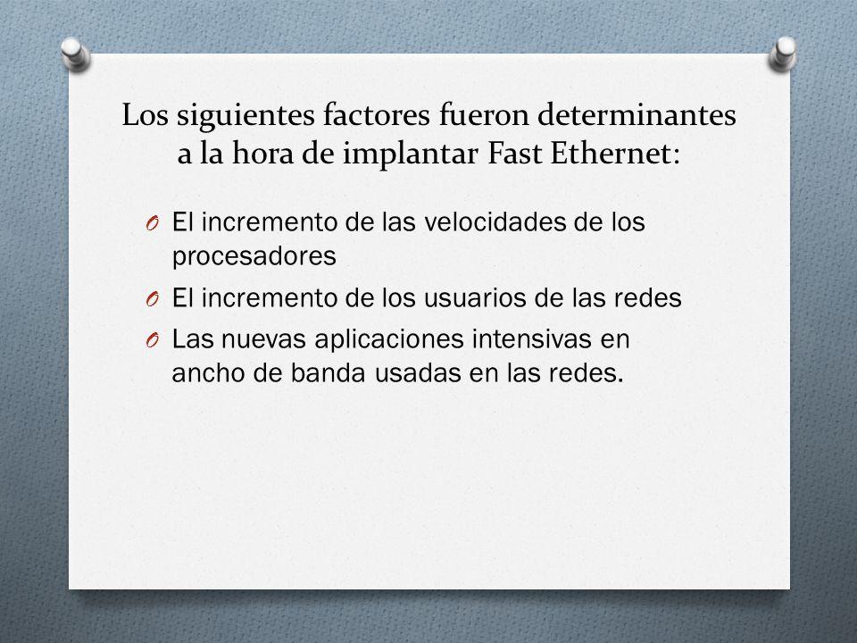 Los siguientes factores fueron determinantes a la hora de implantar Fast Ethernet: