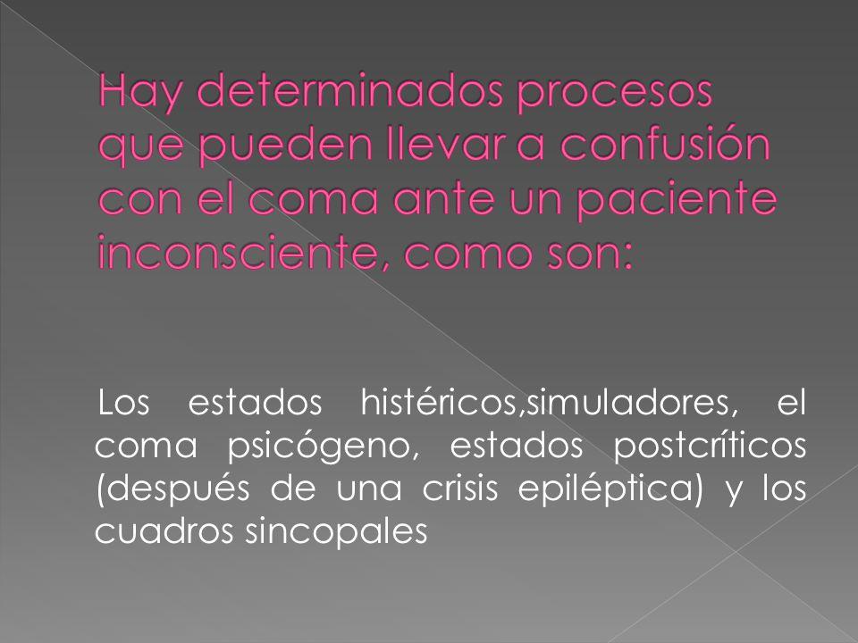Hay determinados procesos que pueden llevar a confusión con el coma ante un paciente inconsciente, como son: