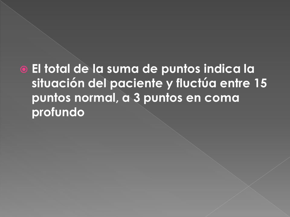 El total de la suma de puntos indica la situación del paciente y fluctúa entre 15 puntos normal, a 3 puntos en coma profundo