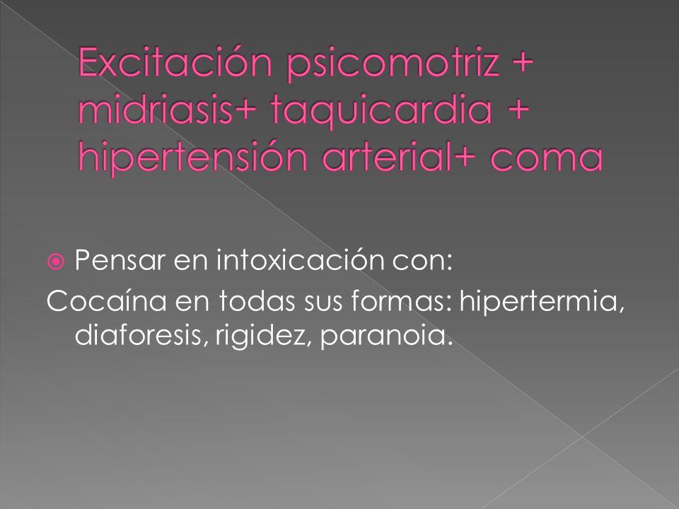 Excitación psicomotriz + midriasis+ taquicardia + hipertensión arterial+ coma