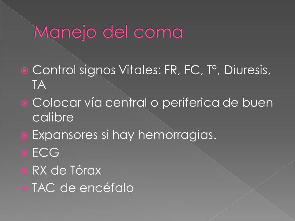 Manejo del coma Control signos Vitales: FR, FC, T°, Diuresis, TA