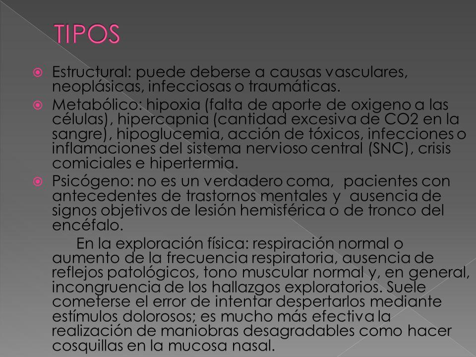 TIPOS Estructural: puede deberse a causas vasculares, neoplásicas, infecciosas o traumáticas.