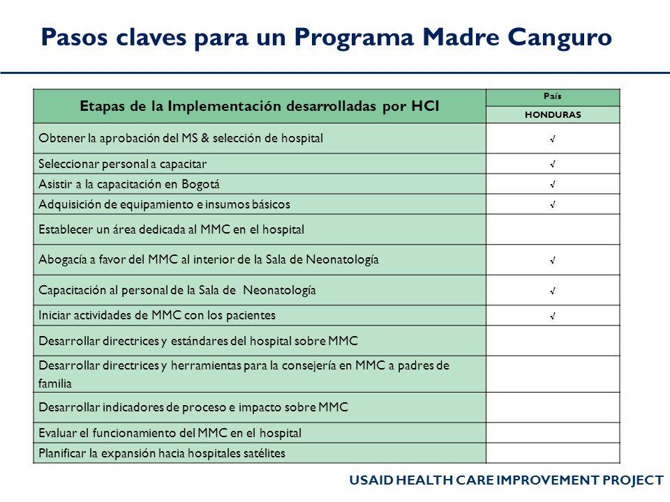 Etapas de la Implementación desarrolladas por HCI