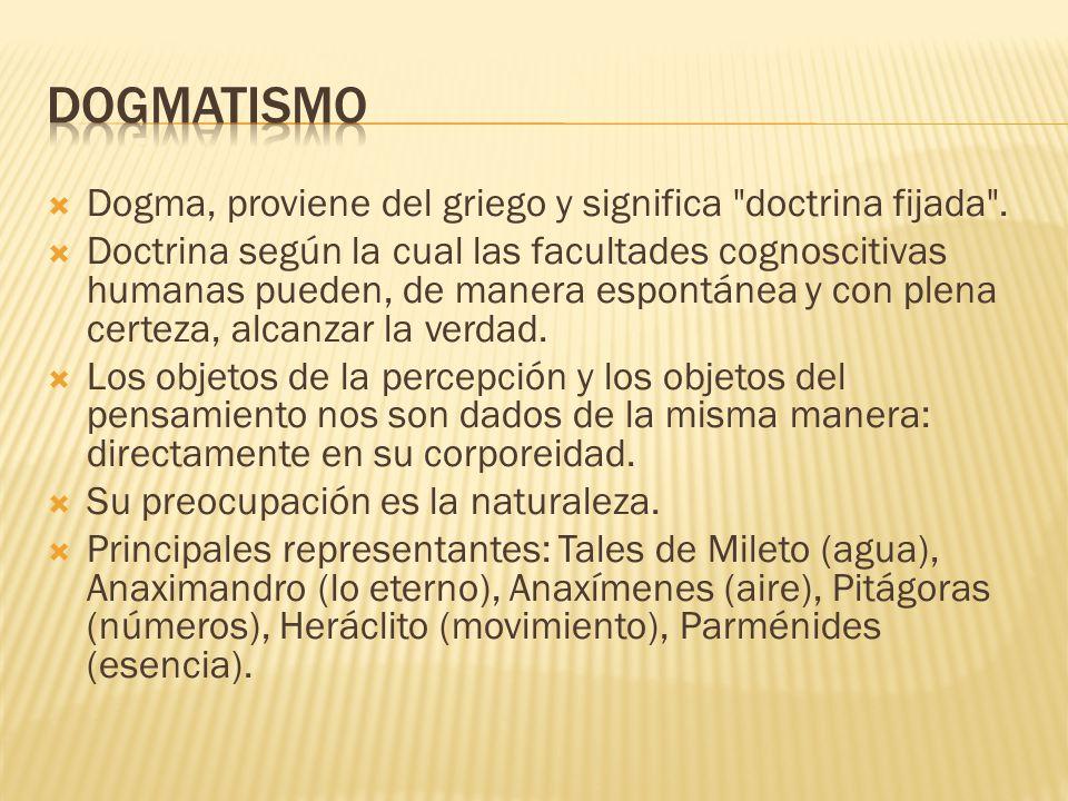DOGMATISMO Dogma, proviene del griego y significa doctrina fijada .