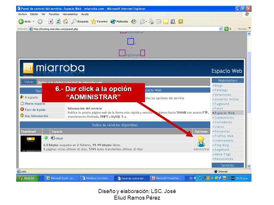 6.- Dar click a la opción ADMINISTRAR