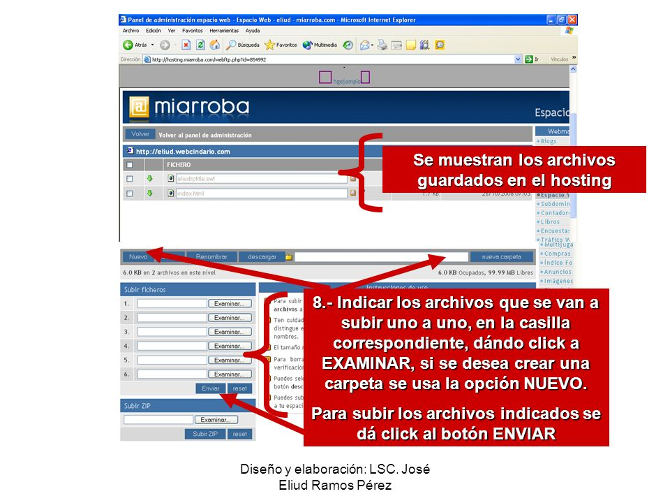 Se muestran los archivos guardados en el hosting