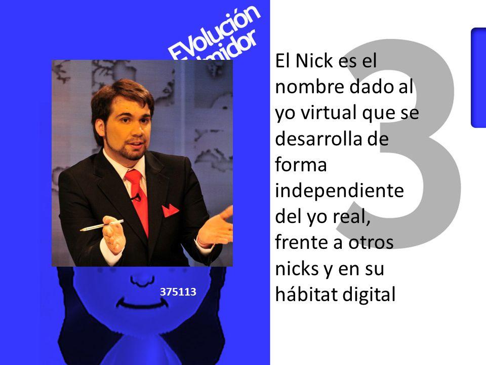 El Nick es el nombre dado al yo virtual que se desarrolla de forma independiente del yo real, frente a otros nicks y en su hábitat digital.
