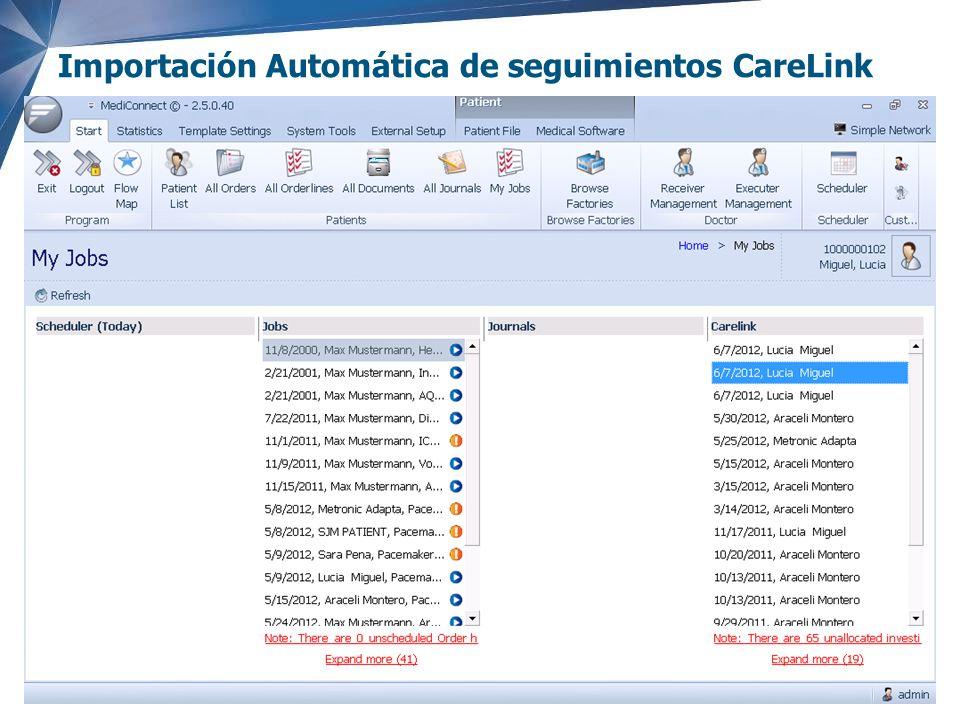 Importación Automática de seguimientos CareLink
