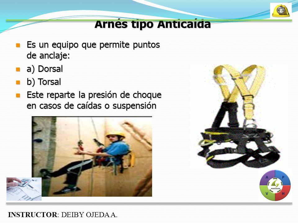 Arnés tipo Anticaída Es un equipo que permite puntos de anclaje: