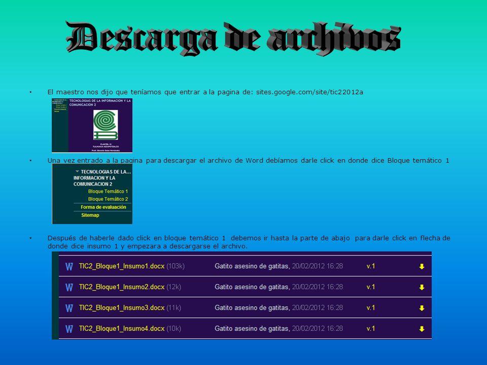 Descarga de archivos El maestro nos dijo que teníamos que entrar a la pagina de: sites.google.com/site/tic22012a.