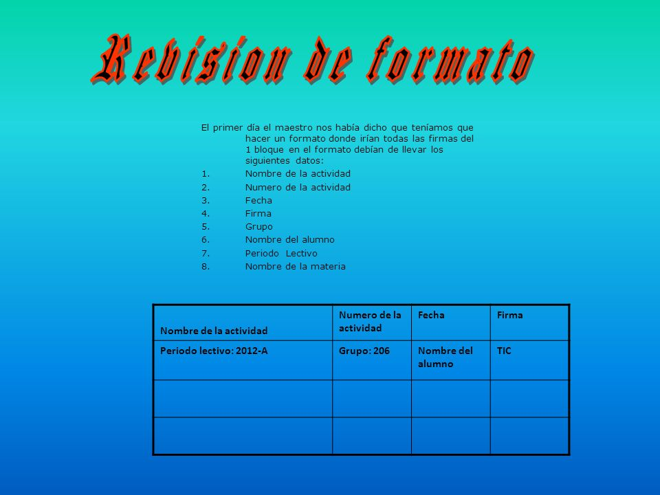 Revision de formato Nombre de la actividad Numero de la actividad