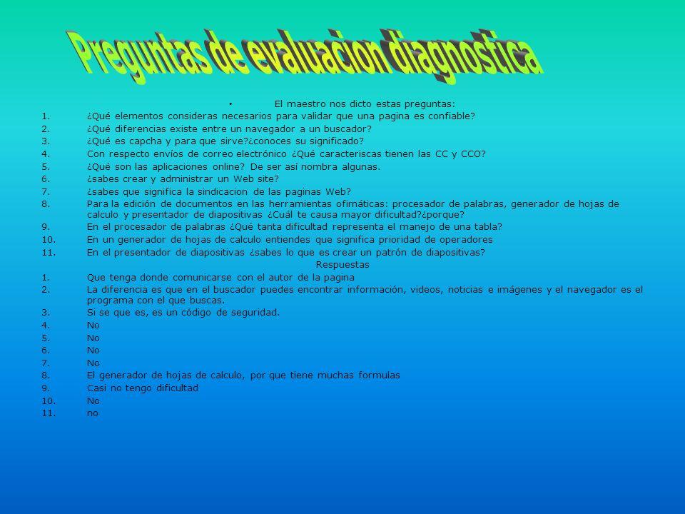 Preguntas de evaluacion diagnostica