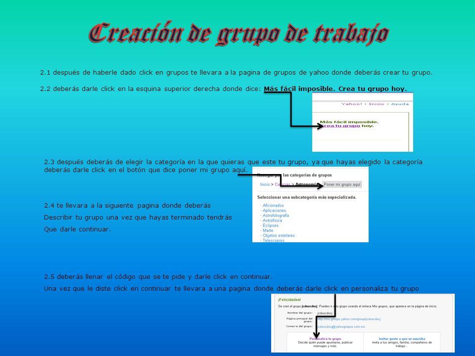 Creación de grupo de trabajo