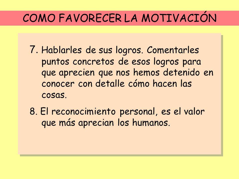 COMO FAVORECER LA MOTIVACIÓN