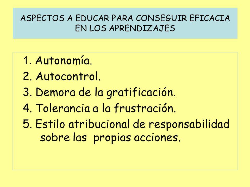 ASPECTOS A EDUCAR PARA CONSEGUIR EFICACIA EN LOS APRENDIZAJES